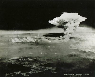 Firestorm cloud over Hiroshima near local noon Aug 6 1945