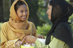 two young muslim women talking outdoors 29658333