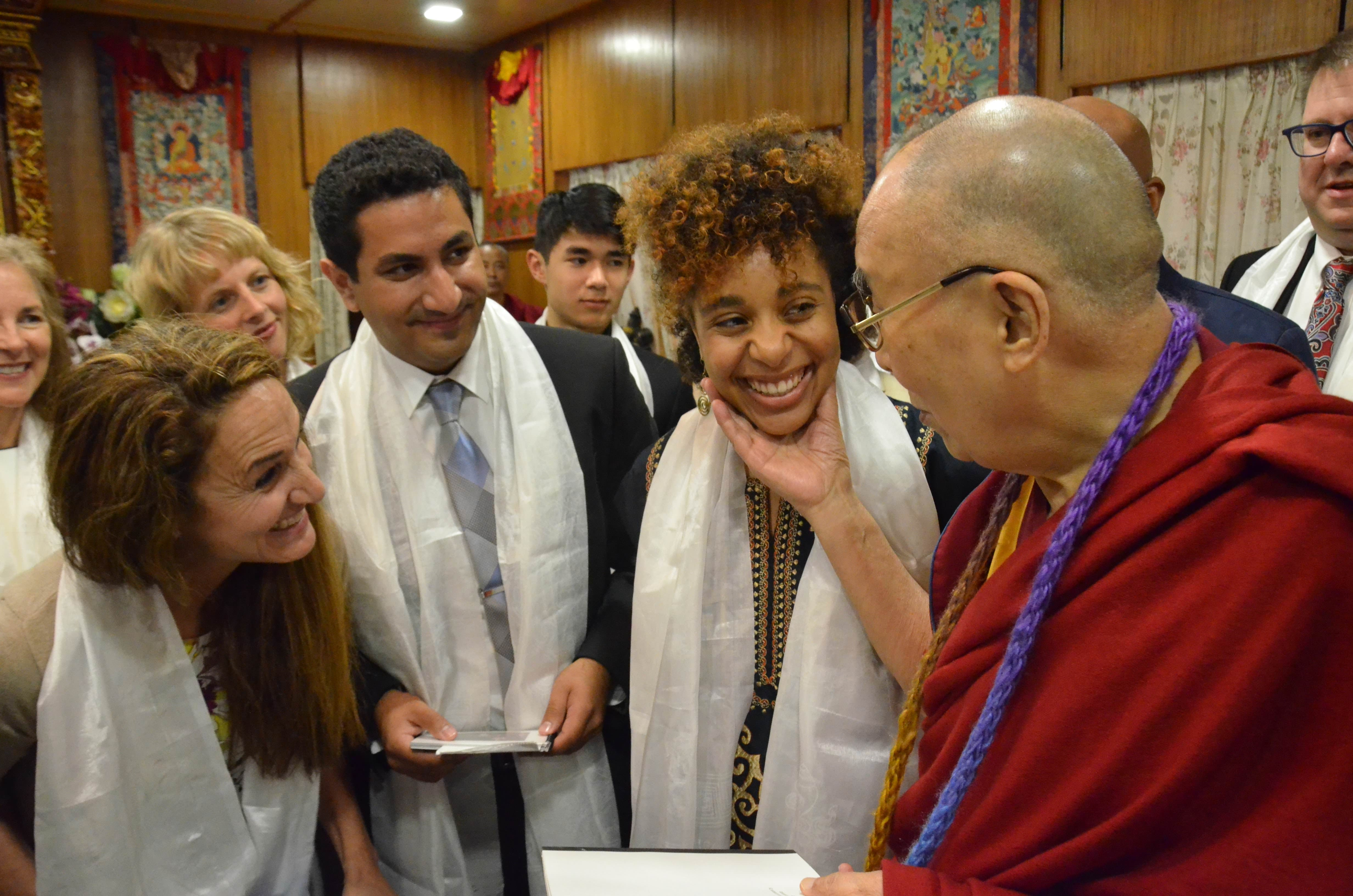Olivia with HHDL