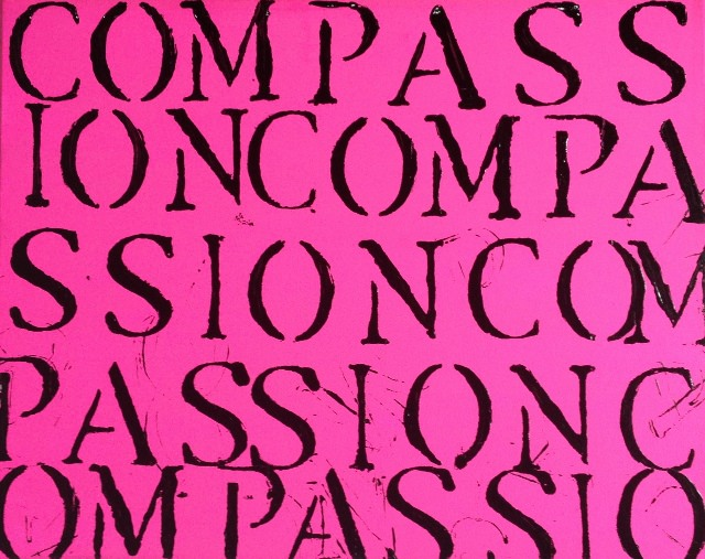 hot pink and black compassion installation painting The Book of Compassion series By John Schlimm 640x507