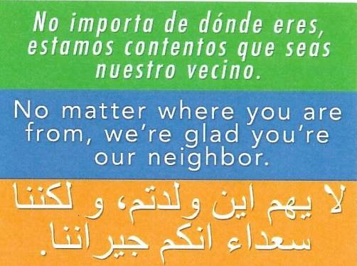 Pomona Welcome Your Neighbor Sign Side 1